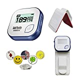 GolfBuddy Voice 2 Golf GPS/Rangefinder Bundle with 1 Magnetic Hat Clip and 5 Ball Markers and Belt Clip (White)