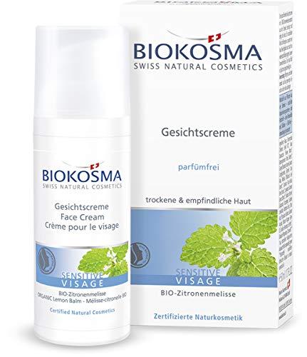 Biokosma SENSITIVE VISAGE Gesichtscreme / Gesichtspflege für trockene und empfindliche Haut / beruhigende Tagespflege mit BIO-Zitronenmelisse / 1x 50ml