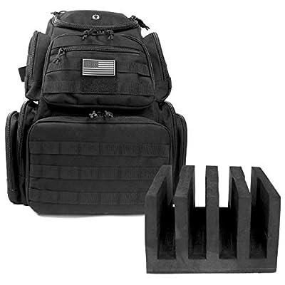 Large Tactical Shooting Range Backpack Carries 5 Handguns EVA Holder And Magazine Pockets for Pistols Thick Heavy Duty Gun Carrier Range Bag Black