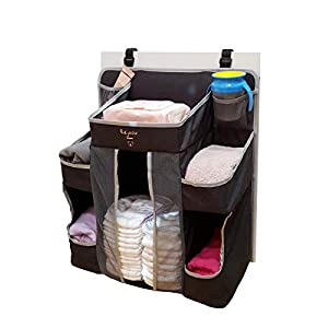 Hanging Diaper Organizer for Changing Table| Large Stacker and Crib Organizer | Hanging Diaper Caddy for Crib