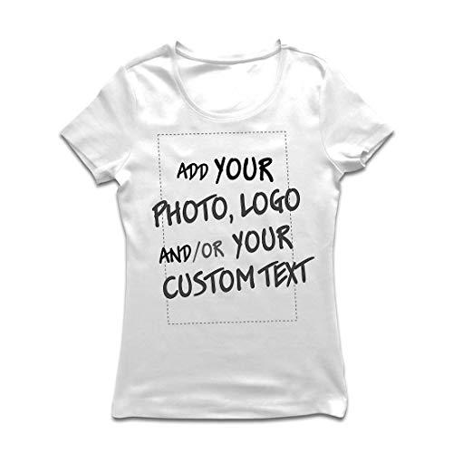 lepni.me Maglietta Donna Regalo Personalizzato Personalizzato, Aggiungere Il Logo Aziendale, Il Proprio Design o Foto (Small Bianco Multicolore)