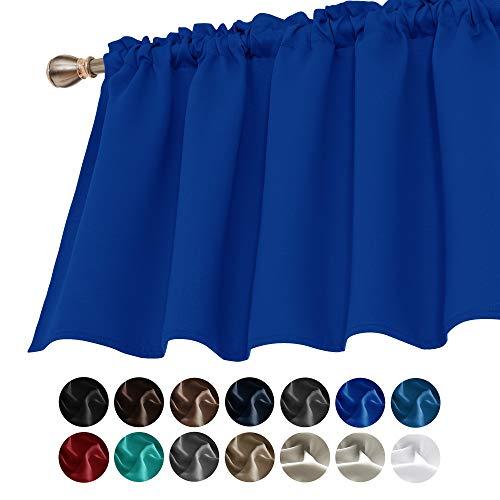 Deconovo Solide Verdunkelungsvorhänge, strukturiert, geprägt, Querbehang für Wohnzimmer, 132 x 45 cm, Königsblau, 1 Panel