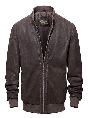 REED Men's Baseball Suede Leather Bomber Jacket (Imported) (XLT, Brown Leather Collar)
