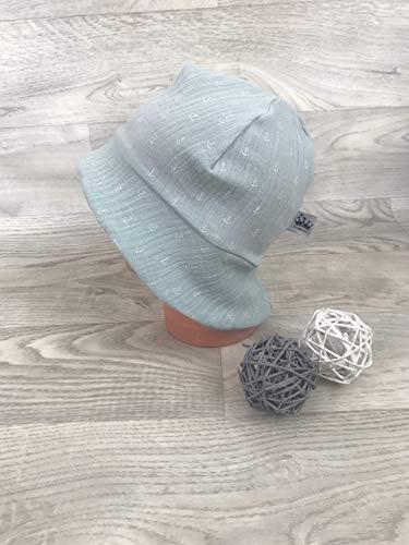 Sonnenhut inkl Nackenschutz 41-54 musselin Mütze mint Anker kopftuch, Sonnenschutz baby, Schirmmütze, sommermütze