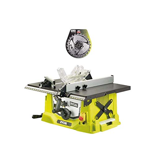 Pack RYOBI Sierra de mesa eléctrica 1800W 254mm RTS1800-G - hoja de carburo 254mm 24 dientes SB254T24A1