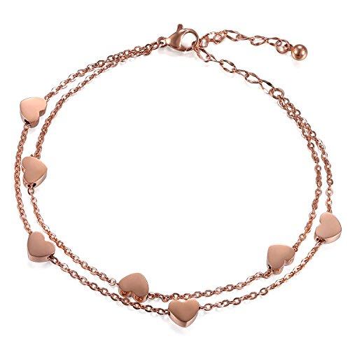Cupimatch Damen Armband Fußkette Herzen Armkette Armschmuck, Doppelt Kette Armband für Frauen Mädchen Armreif Silber, Rosegold