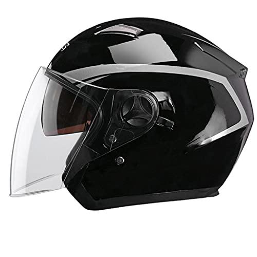 HSFJFDRT Casco De Motocicleta Hombres Y Mujeres,3/4 Abierta Cara Estilo CascoPara Motocicleta Certificado ECE Scooter De Motocicleta con Gafas De Protección UV Y Visera Solar,B-58-60CM
