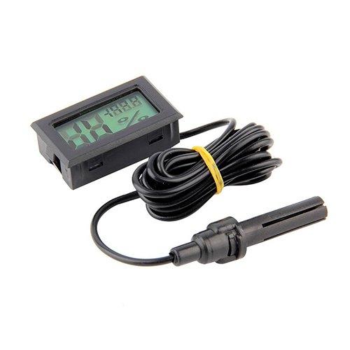 yanQxIzbiu Premium Thermometer Hygrometer, Portable Mini LCD Digital Temperature Humidity Meter A Probe Black
