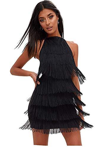 keland - Vestido Gatsby Vestido con borlas para Mujer, sin Mangas, Vestido con Franja Vestidos Cortos de Fiesta Baratos (Negro, L)