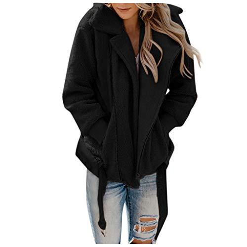 ALISIAM Chaqueta de Tendencia de Moda para Mujer Solapa con Cremallera Blusa de Piel sintética Blusa de Lana Tops de Oso de Peluche Sweatershirt Abrigo de Abrigo cálido