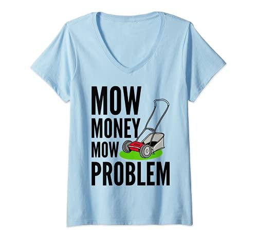 Mujer Cortacéspedes divertidos Cortar Dinero Cortar el Problema de Camiseta Cuello V