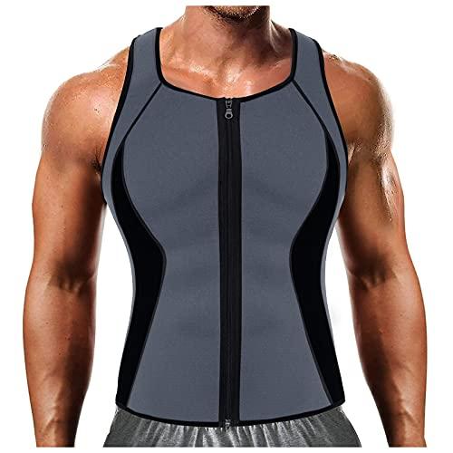 Chaleco de Fitness con Cremallera para El Sudor para Hombre, Camiseta Sin Mangas para Entrenamiento, Entrenador de Cintura para PéRdida de Peso