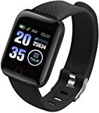 Reloj inteligente de salud, reloj deportivo, presión arterial, frecuencia cardíaca, podómetro, rastreador de fitness, pulsera inteligente impermeable (color: verde) - negro