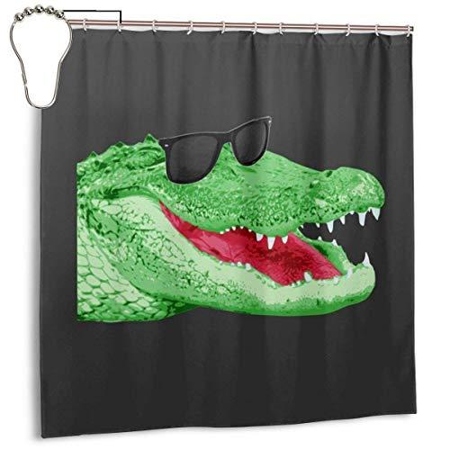 """Wasserdichtes Polyester-Gewebe Duschvorhang Glückliches Krokodil Druck Dekorative Badezimmer-Vorhangs mit Haken, 72 """""""" X 72"""
