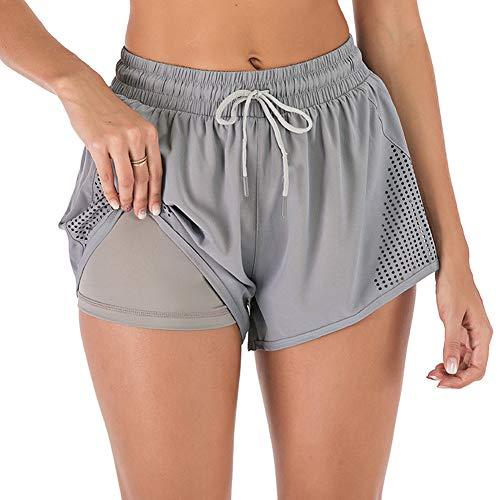 iClosam Short Deportivo Mujer 2 en 1, Pantalones Cortos Mujer de Verano Cintura Elástica Pantalones Cortos Running para Deportes Yoga Gimnasio Ejercicio Fitness