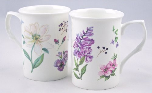 Pair Fine Bone China Mugs - English Meadow By Royal Castle