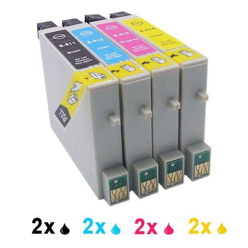 Cartucho de tinta Compatible como para Epson T0611 T0612 T0613 T0614 (2 x negro, 2 cian, 2 x Magenta, 2 x amarillo, 8er-Pack)