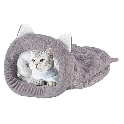 Felenny Katze Schlafsack Haustier Bett Katze Warm Gemütlich Bedeckt Selbsterwärmenden Kuschelsack Halb Überdachte Höhle für Katzen Welpen