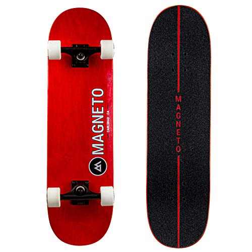 Magneto SUV Skateboards | Complete 31quot x 85quot Skateboard | 7 Layer Canadian Maple Deck | Fully Assembled | Designed for All Types of Riding | Red