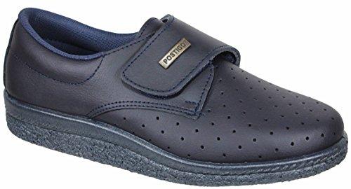Postigo 1 -Zapato Sanitario Anatómico Velcro Piel Unisex (38 EU, Azul)