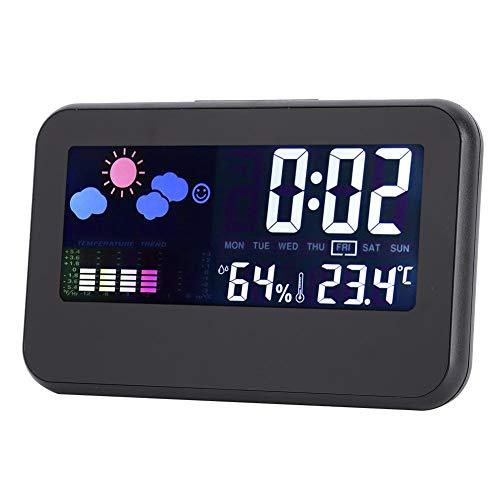 wosume Reloj de Temperatura, Humedad, Clima, Pantalla LED, Reloj electrónico para Estudiantes, Suministros para el hogar para el día y la Noche, Control de Voz