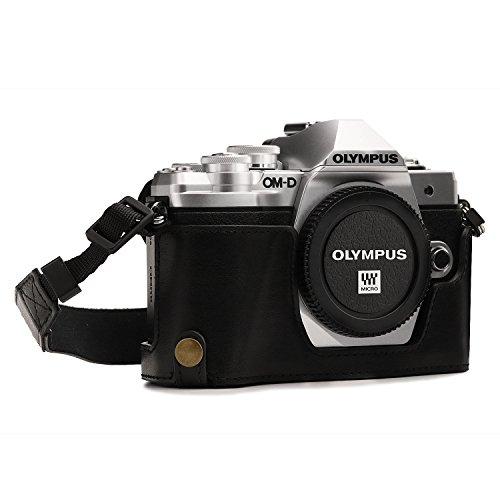 MegaGear Ever Ready MG1350 - Funda de Piel con Correa para cámara Olympus OM-D E-M10 Mark III, Color Negro