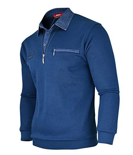 Soltice Herren Langarm Sweatshirt mit Kragen, Sweatpullover, Polohemd aus Baumwoll-Mix(M bis 3XL) (M, [M1] Navy)