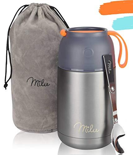 Milu® Thermobehälter 450, 650ml | Edelstahl Warmhaltebehälter | Essensbehälter | Speisegefäß Baybnahrung | Essen warmhalten Behälter | Thermo Lunchbox | Müsli to go | 650ml