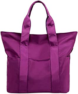 TOOGOO Big Capacity Women Handbag Female Nylon Cloth Shopping Bags Large Book Pure Color Simple Handbags Dark Purple