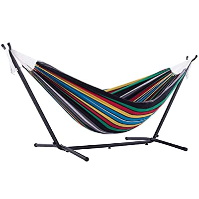 Vivere Double Cotton Hammock with Space Saving Steel Stand, (450 lb Capacity-Premium Carry Bag Included), 9', Rio Night with Charcoal Frame
