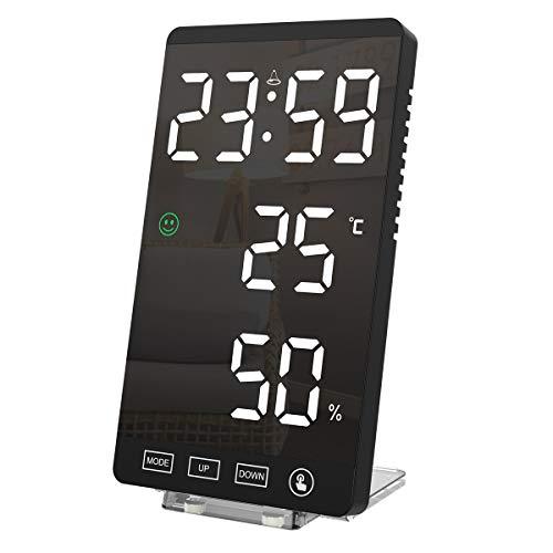 (Nueva edición)Reloj despertador digital , ORIA Reloj despertador con espejo LED, termómetro y monitor de humedad interior, visualización grande de 6 pulgadas con función de repetición, 4 brillo ajustable, apto para recámara, oficina