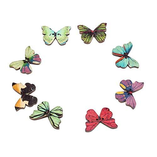 50 knopen van hout, handgemaakt, 2 gaten, knoppen in vlindervorm, voor kleding, knopen, knutselen, laarzen, Para, La Ropa 30AUG07 3# Meerkleurig