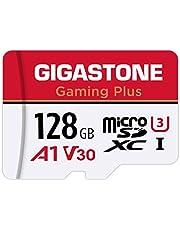 Gigastone Carte Mémoire 128 Go Gaming Plus Série Compatible avec Switch Dashcam GoPro Drone Vitesse de Lecture allant jusqu'à 100 Mo/s. A1 U3 V30 Carte Micro SDXC pour Full HD vidéo avec Adaptateur SD
