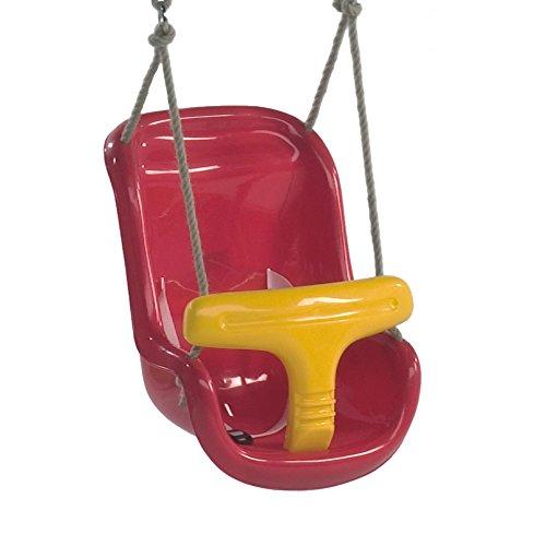 WICKEY Babysitz 2-teilig Kleinkind-Schaukelsitz mit Sicherheits-Features Sicherheitsgurt unterteilt rot-gelb