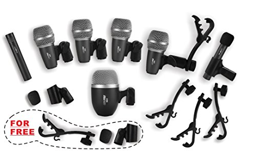 Wired Drum Microphone Kit for Drum and Other Musical Instruments (A whole set)