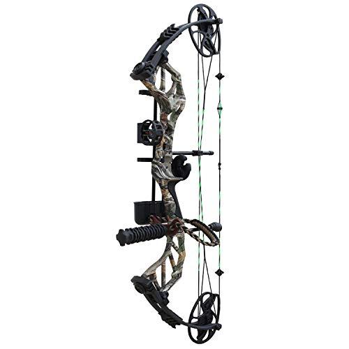 """Hellbow Kit- Arco Compound di Caccia Thorns, Regolabile da 19-31""""/ 30-70 LBS. Forest Camo Arco destrorso con Corda Verde e Nera, ha Un mirino a 3 Pin, stabilizzatore e Supporto per Le frecce"""