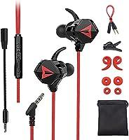 Free Wolf Audífonos Gamer InEar, Auriculares Gaming con Cable, con micrófono Dual Desmontable, para Juegos móviles,...