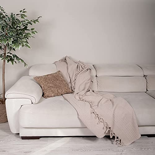 Milam London 100% Cotton Waffle Bedspread Throw For 2 - 3 Seater Sofa Settee Couch Bed I King Size 220 x 240 cm Beige