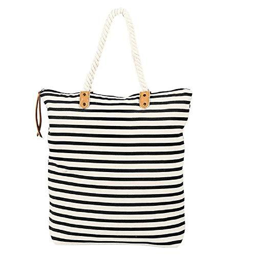 Summer & Rose Brittany Tote Black/White Stripe