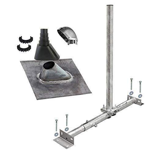 PremiumX Dachsparrenhalter Satellitenschüssel Montage Set Sparrenhalter feuerverzinkt Blei-Dachziegel schwarz SAT Mastkappe