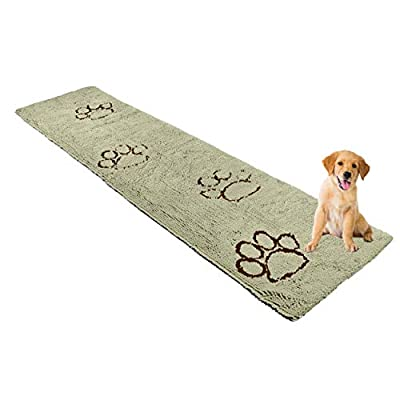 My Doggy Place - Ultra Absorbent Microfiber Dog Door Mat, Durable, Quick Drying, Washable, Prevent Mud Dirt, Keep Your House Clean (Sage Green w/Paw Print, Hallway Runner) - 8' x 2' Feet