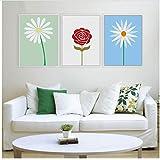 Cartel de flores minimalista moderno Hermosas margaritas Pintura de lienzo Cuadros de pared Decoración para el hogar para habitación de niña-40x50cmx3 Sin marco
