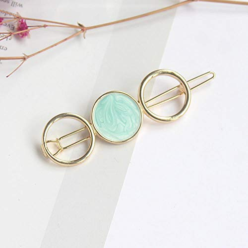 Miner The New Ins Geometry Round Metal Magic Hair Clip pour Woman is Grace Temperament Tender Fringe Pinch Clamp Bobby Hairpin Decorate, Light Green