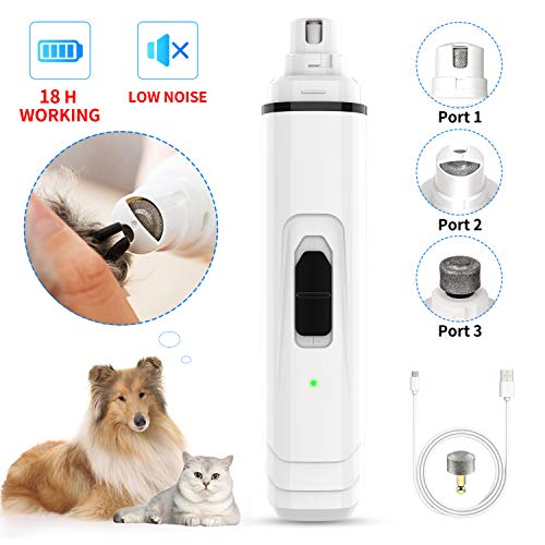 Dog Nail Grinder by Ieebee- Upgraded Adjustable 2-Speed Low Noise Rechargeable Eelectric Pet Nail Trimmer,Professional Painless Paws Grooming and Smoothing for Small Medium Large Dogs and Cats