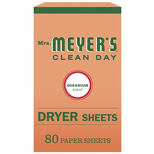 Mrs. Meyer's Clean Day Dryer Sheets, Softens Fabric, Reduces Static, Cruelty Free Formula, Geranium Scent, 80 Count