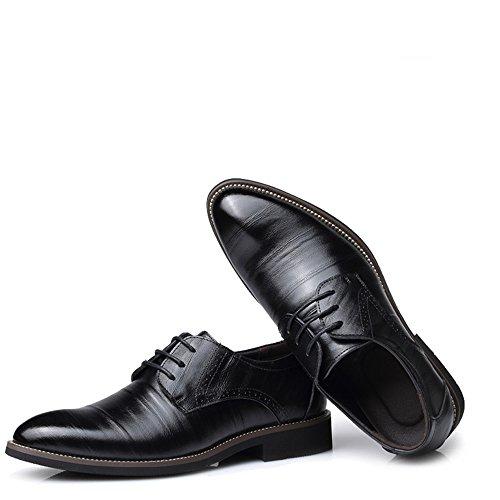 DeHolifer Herren Business Anzugs Schuhe, England Stil Einfarbig Spitzschuhe Mode Casual Schuhe Männer Wohnungen Schnüren Sich Männliche Oxfords Männer Hochzeit Schuhe Klassisch Retro Lederschuhe