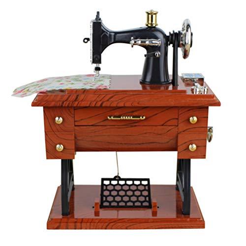 Vosarea - Caja de música Sartorius con forma de máquina de coser, estilo vintage, regalo creativo, juguete musical para boda, Navidad, decoración, casa, cumpleaños, 13 x 8 x 16 cm