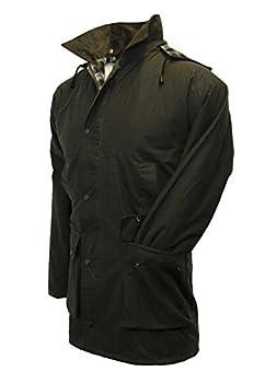 Walker & Hawkes - Mens Unpadded Wax Jacket Countrywear Hunting Waxed Coat - Olive - Medium