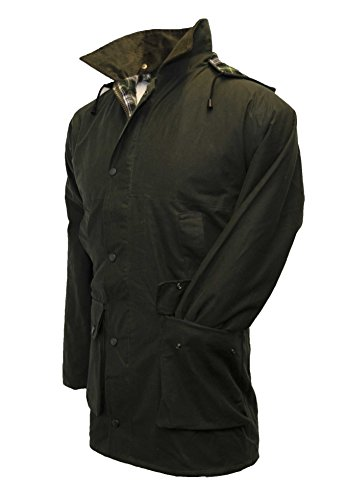 Walker & Hawkes - Mens Unpadded Wax Jacket Countrywear Hunting Waxed Coat - Olive - Medium