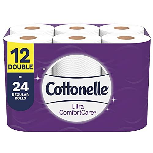 Cottonelle Ultra ComfortCare Toilet Paper, 12 Double Rolls, Soft Bath Tissue